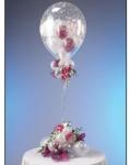 """25. Настольная композиция """"Сердечки в шаре"""". Шары-латекс с рисунком(дизайнерский) 1 шт.+ маленькие сердечки внутри,шар в шар гелий - 800р."""