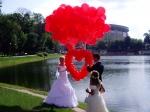 36.Запуск сердца из маленьких шариков без каркаса(воздух) с помощью гелиевых шаров-от 4300р.