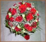 """19. Букет """"Ксения"""". Розы, альстромерия, гипсофила, декоративная зелень - 3900р."""